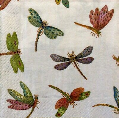 3 Paper Napkins for Decoupage / Parties / Weddings - Dragonflies