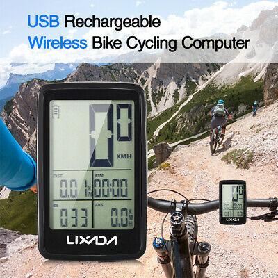 Lixada USB Rechargeable Wireless Bike Cycling Computer Speedometer Odometer Y3I7