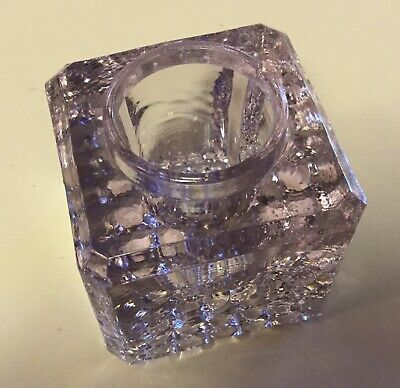 Antique clear glass turned lavender inkwell cut glass bottom no lid