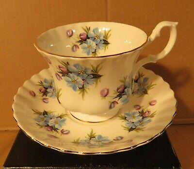 Royal Albert Blue & Purple Flowers Teacup & Saucer Made in England