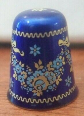 Thimble- Made in Austria Blue with Floral Decor