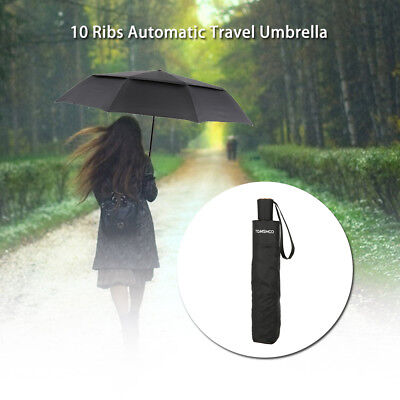 TOMSHOO Windproof Travel Umbrella Auto Vented Wind Resistant Double Canopy P9U5