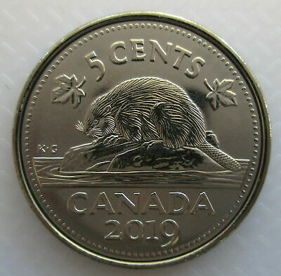 2019 Canada Canadian Five 5 Cent Coin BU First Strike Nickel
