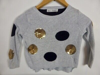 REDUCED!! gold sequin blue circle dot print grey Girl's Jumper sz 3 COTTON ON
