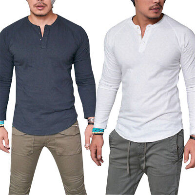 Men Spandex Long Sleeve Button T Shirt Casual Tops Blouse Muscle Tee Xmas Gift