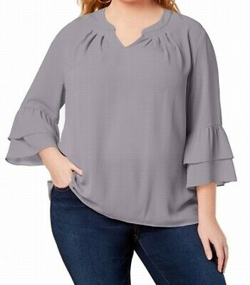93791467d60f28 NY Collection NEW Gull Gray Womens Size 1X Plus Bell Sleeve Blouse $49 236