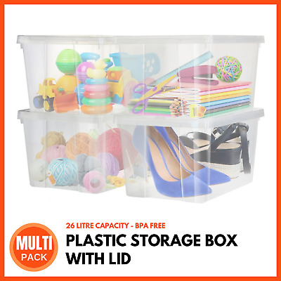 PLASTIC STORAGE CONTAINER WITH LID 15L | Portable Storage Box Basket Crate Boxes