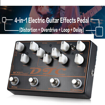 2018 NEW MOSKY 4-in-1 Guitar Effects Pedal Distortion Overdrive Loop Delay Black