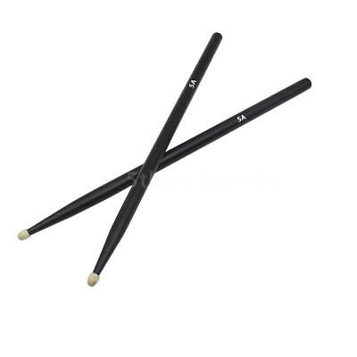 1 Pair 5A Maple Wood Drum  Drumsticks Music Band Percussion Black F5E9