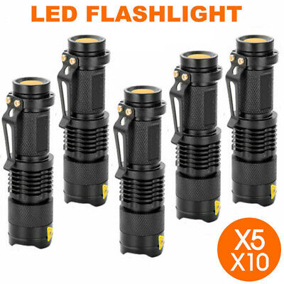 5/10x Mini CREE Q5 LED Flashlight Torch Adjustable Focus Zoom Light Lamp 1200LM