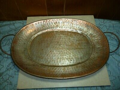 Old Vintage Antique Hand Hammered Copper Plated Steel Serving Tray Heavy.