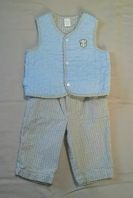 First Impressions Baby Boy 2pc Vest Cotton-Lined Pants Outfit Size 0-3 Months