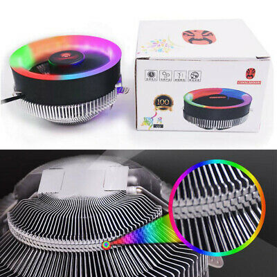 LED 100mm RGB Colorful Ring PC CPU Cooler For AMD Intel 775/1366/AM2/AM2+/AM3