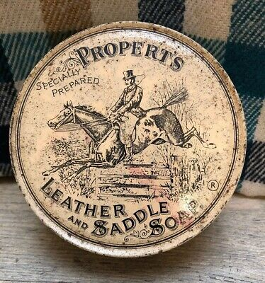 Vintage Properts Leather And Saddle Soap Tin Advertising Horse Empty Can