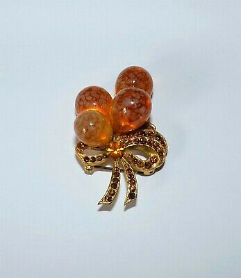 Art Deco Amber Glass Balloons And Bow Crystal Austrian Vintage Brooch *Rare*