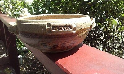 Vintage Rustic Australian Pottery Egg Bowl  Beige Brown With Handles, Signed