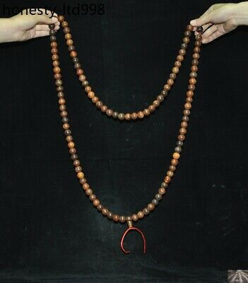 """36"""" China Buddhism Old Ox Horn carved Buddha Bead Prayer beads Amulet Necklace"""