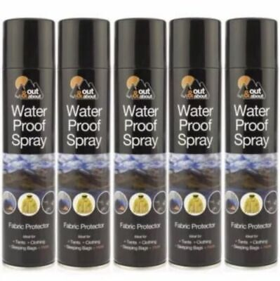 5 x 300ml WaterProof Spray Protector Waterproofing Fabric Shoes Tents Cloth Camp