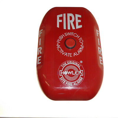 Battery operated fire alarm for building sites camp sites etc push to activate