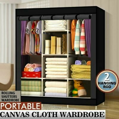 Black Triple Multiple Canvas Clothes Storage Wardrobe Hanging Wardrobes Shelves