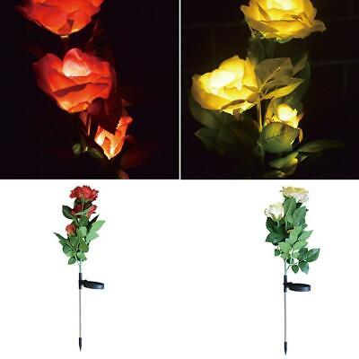 Solar Yellow Rose Blossom Color Changing LED Light Flower Garden Decorative Yard