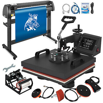 "5in1 Heat Press 15""x15"" Vinyl Cutter Plotter 53"" Usb Port Sticker Print DIY"