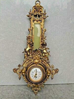 Antique Cartel Gilt ? French Bronze ? Wall Clock with Cherubs