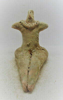 Scarce Circa 6000Bce Ancient Tel Halaf Seated Terracotta Ferility Figure