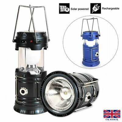 USB Solar Power Camping Hiking LED Lantern Rechargeable Tent Hanging Light Lamps