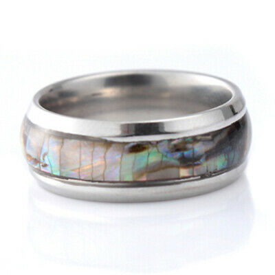 Abalone Shell Stainless Steel Ring Mens Womens Silver Gold Wedding Band Gift