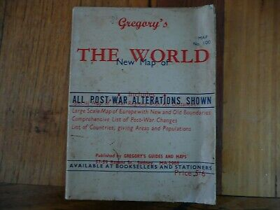 Vintage Map World School Map Mercators Projection Gregory's Map 100