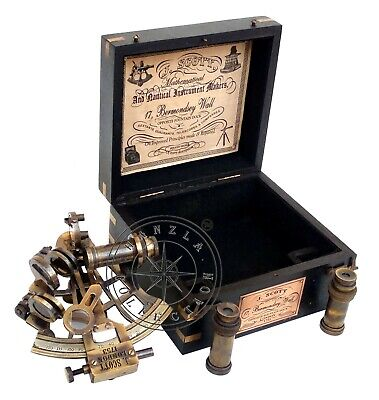 Marine Antique Brass Ship Sextant J. Scott London Nautical Astrolabe in Wood Box