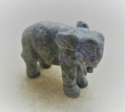 Very Rare Ancient Egyptian Lapis Lazuli Carved Elephant Statuette 500Bc
