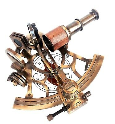 "8""Antique Leather Telescope Brass Ship Sextant Nautical Marine Vintage Astrolabe"