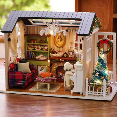 DIY Miniature Dollhouse Kit Realistic LED 3D Wooden House Room Christmas Gifts