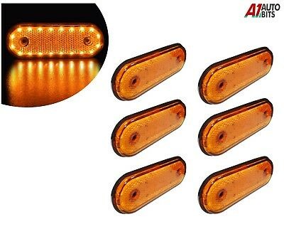 6x 24v Led Oval Clearance Amber Side Marker Lights Position Truck Trailer Lorry