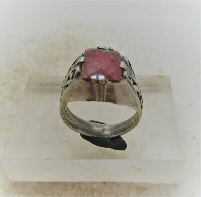 Post Medieval Antique Silvered Ring With Faceted Glass Insert