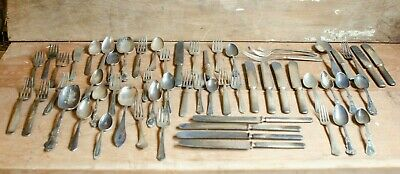 Vintage Silverplate flatware lot of misc silverplate forks spoons knives mixed