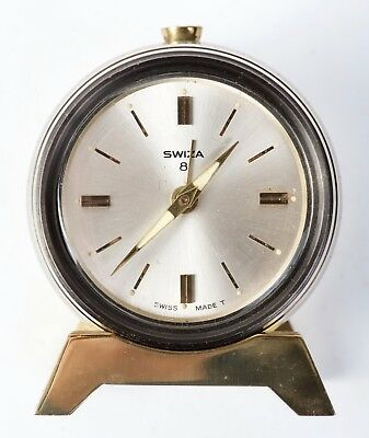 Swiza Table Clock with 8 day movement and alarm, barrel,1960s