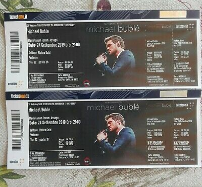 Due Biglietti Platea Gold concerto Michael Buble' Forum Assago 24/09/19