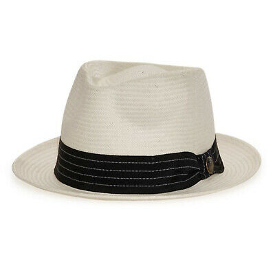 1019acc3 Goorin Brothers Men's Snare Straw Fedora Trilby Hat Panama Summer Beach -  Stone