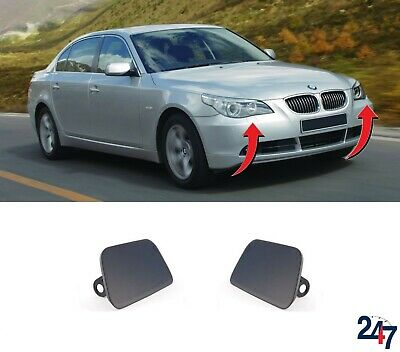New Bmw 5 Series E60 2003 - 2007 Front Bumper Headlight Washer Covers Pair Set