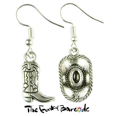 803047313 TFB - WILD WEST HAT & BOOT DANGLE EARRINGS Funky Quirky Retro Cool Fun Gift  Punk