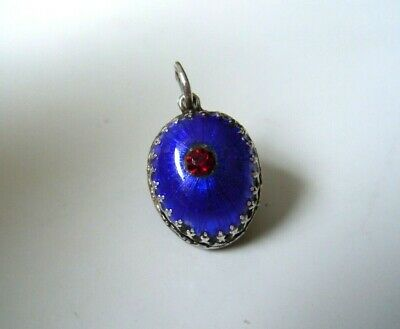 very RARE imperial Russian 84 Silver Enamel Egg Pendant Faberge design