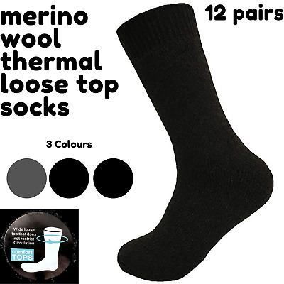 Merino Wool Men's Loose Top Thermal Socks Diabetic Comfort Circulation - 12 Pair