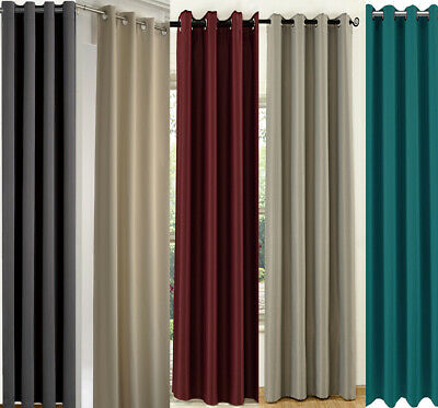 """66"""" x 84"""" Thermal Thick Blackout Door Curtain Eyelet Ring Top Black Beige Red"""