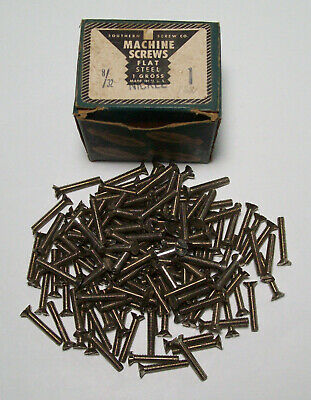 Southern Screw Co. 1 Gross Box of 1 Inch 8-32 Machine Screws Nickel Vintage