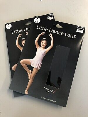 2 Pairs Pretty Legs Black Footless Dance Tights Age 5 To 7