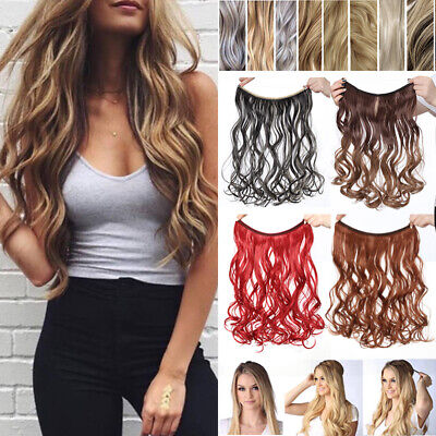 FULL Head Halo Invisible Wire Clip In Hair Extensions Secret Headband Curly A47
