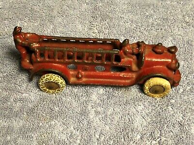 Antique 1930'S Original Condition Cast Iron Fire Ladder Truck, By Ac Williams